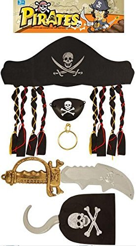 Xylsto Juego de piratas con daga, mscara de ojos y gancho para disfraz de fiesta (Negro)   PARTY-ACT-048