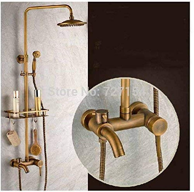 人口知恵宇宙のZY-YY 蛇口 シングルハンドルのレインシャワーの蛇口アンティークブラス浴槽のミキサーのタップウォールシェルフ、マルチマウント