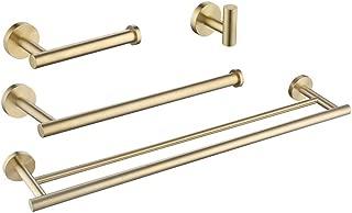 KES SUS 304 Stainless Steel 4-Piece Bathroom Accessory Set RUSTPROOF Towel Bar Hook Toilet Paper Holder Towel Ring Wall Mount Brushed Brass Finish, LA20BZ-43