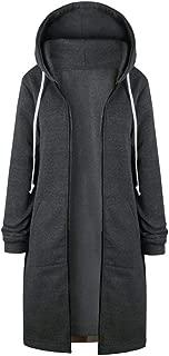 HGWXX7 Women's Warm Plus Size Zipper Open Hoodies Sweatshirt Long Coat Jacket Tops Outwear S~5XL