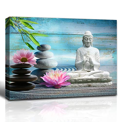 Purple Verbena Art Buddha Canvas Wall Art Decor Spa Stone Green Bamboo Pink Waterlily Buddha Picture Canvas Painting on Cyan Wood Board For Home Office Decor 12x16inch-Framed