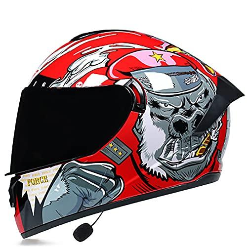 Casco De Moto Modular Bluetooth Integrado, Cascos de Motocicleta DOT/ECE Homologado a Prueba de Viento para Adultos Hombres Mujeres con Doble Visera Anti Niebla D,M=57~58CM