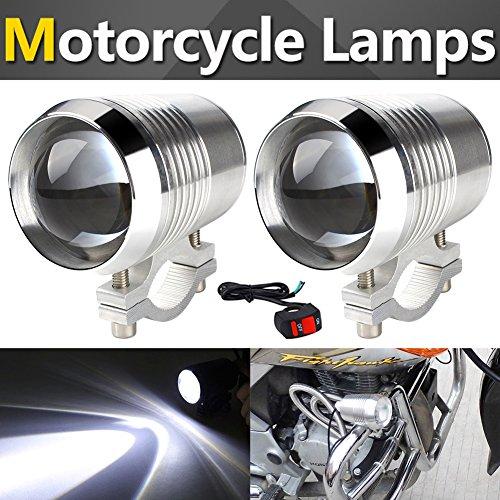 TABEN LED mistlampen metaal Xenon wit waterdicht CREE U2 LED universeel voor motorkoplampen elektrische fiets koplampen + 1 aan/uit schakelaar Zilver.