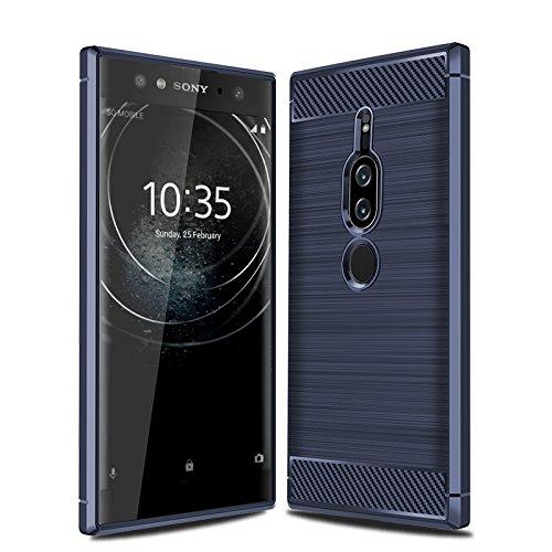 CruzerLite Sony Xperia XZ2 Premium hülle, Carbon Fiber Shock Absorption Slim TPU Cover Schutzhülle für Sony Xperia XZ2 Premium (2018) (Blue)