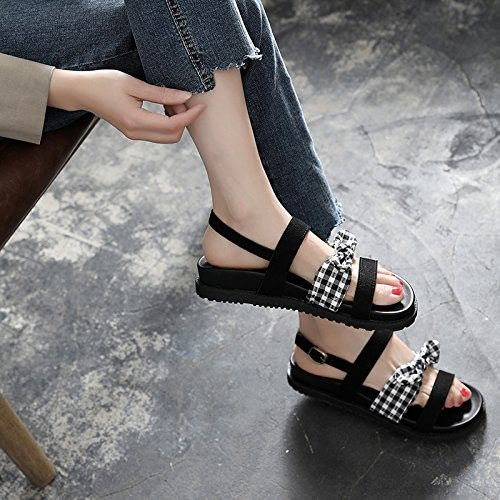 YMFIE Lady Summer Bow Toe Flat Sandals Fashion Comfort Non-Slip Sandals