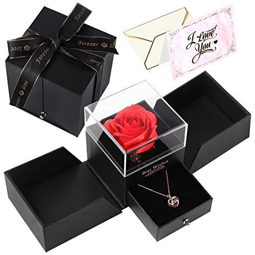💕【Collar de corazón】Con 100 Idiomas Collar de corazón, Un símbolo de amor para siempre, Suficiente para expresar todo tu amor por ella. 💕【Rosa Eterna Natural 】Cada rosa está hecha a mano, no solo hermosa, brillante y romántica. Y cada paso es el más ...