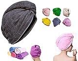 Extra Exquisite - Asciugamano a turbante in 100% cotone con motivo stampato a righe, motivo floreale, vari colori, taglia unica, Any Color, taglia unica