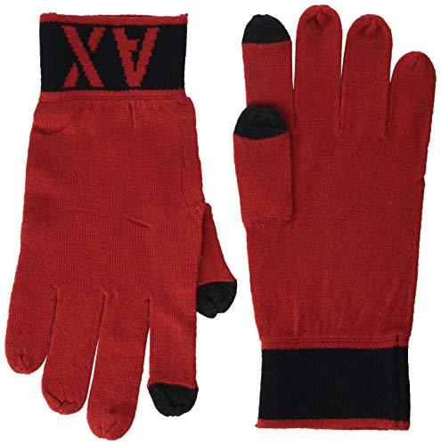 Armani Exchange A|X Herren Two-color A|X Glove Handschuhe für kaltes Wetter, Scarlet Sage/Black, Klein/Mittel