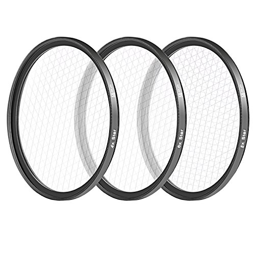 Neewer 58MM 3 Pieces Points Star Lens Filters Kit for Canon EOS Rebel T6i T6 T5i T5 T4i T3i SL1 DSLR Camera, Includes 4/6 / 8 Points Star Filter, Made of HD Glass and Aluminum Frame Materia (Black)