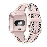 CrocSee Top Grain Leather Bands Compatible with Fitbit Versa/Fitbit Versa 2/Fitbit Versa Lite & SE Smartwatch, Breathable Chic Lace Leather Strap for Women, Pink with Rose Gold Buckle