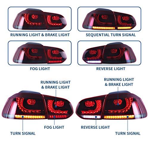 Vland LHD - Luz trasera LED para Golf 6 MK6 GTI GTD R TSI 2008-2013 con secuencial(Conductor a la izquierda)