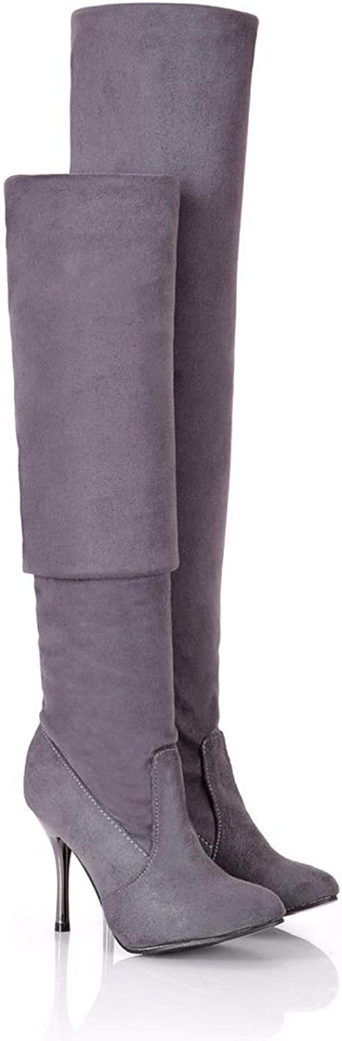 Women Over The Knee Boots High Thin Heel Slip On Round Toe Ladies Sexy Winter Warm Fashion Thigh High Boots