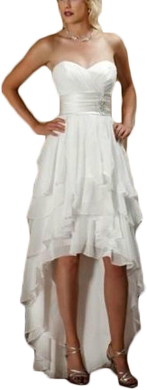 Ri Yun Women's Sweetheart Ruched Bridal Wedding Dress High Low Beach Wedding Dresses for Bride 2018