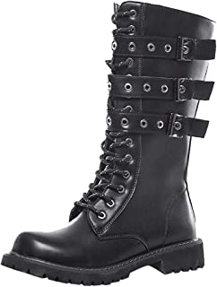 Men's Military Motorcycle Combat Boots,QueenMM Leather Lace-Up Buckle Tactical Riding Biker Boots Outdoor Hiking Boots