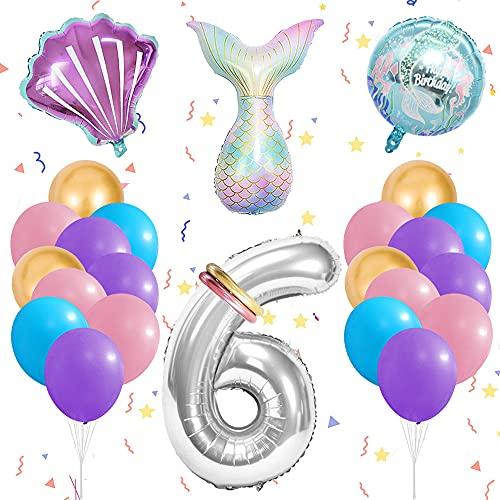 MMTX Sirena Decoración de Globos de Cumpleaños 6 Años, Globos Numeros Gigantes 6, Globos Helio Sirena, Cumpleaños Globos 6 Años Niña para Fiestas de Cumpleaños y Aniversarios