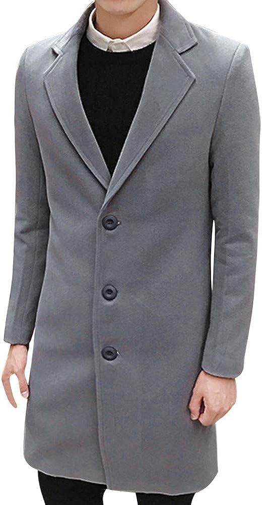 Trench Coat Men Mens Rain Jacket Formal Single Breasted Figuring Long Wool Jacket Outwear Plus