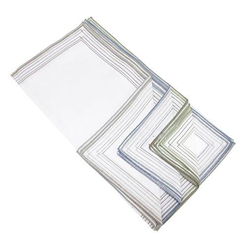 Universal Textiles Pañuelos básicos de tela para hombre con bordes a rayas (Paquete de 10 unidades) (Paquete de 10 unidades/Verde/gris/azul)