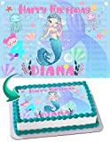Cakecery Little Mermaid Edible Cake Image Topper Personalized Birthday Cake Banner 1/4 Sheet