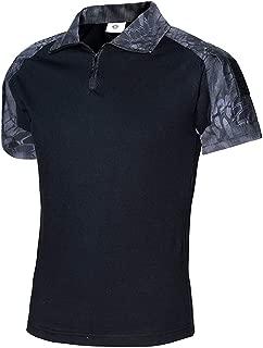 NEW VIEW Men's Tactical Combat Shirt Short Sleeve with Zipper Military Camo Shirt