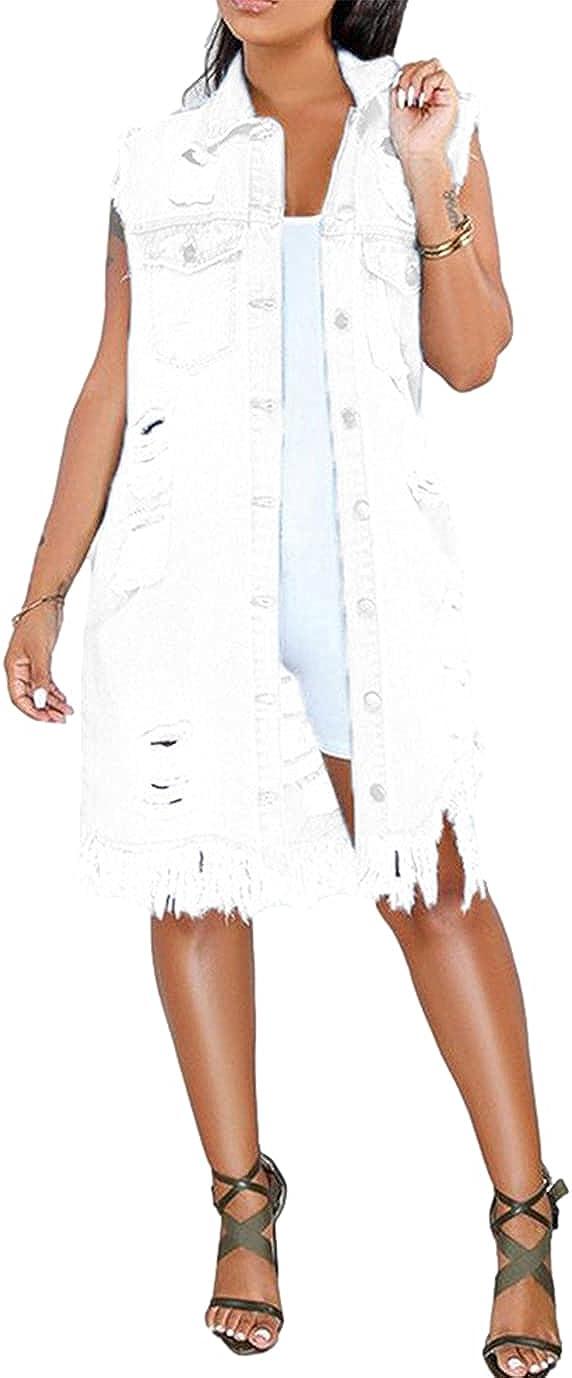 Duyang Womens Casual Distressed Ripped Sleeveless Denim Jacket Mid Long Frayed Tassel Jean Vest