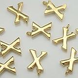 2Stücke von glänzend gold Initiale Alphabet 'X Anhänger Charms Stecker links Metall Perlen über Messing für 16K Gold vergoldet Ohrringe Halskette Armbänder etc. Schmuck-Herstellung –, Braut #, Braut in-1-gd-x