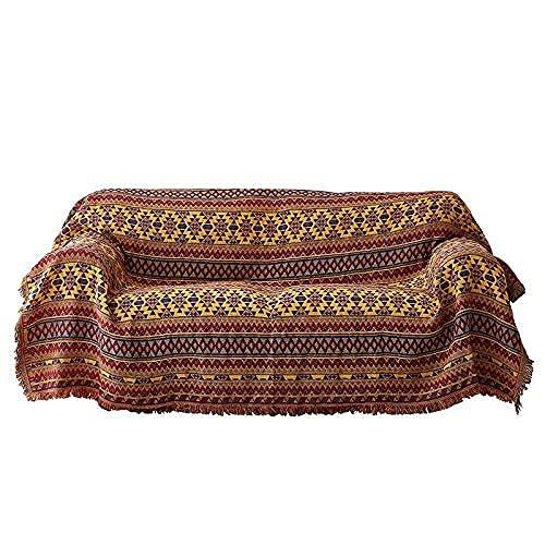 Kasta filt Soffklädsel Böhmen Retro dubbelsidig vändbar bomull Jacquard tofsar Överdrag för säng soffa stol Dekorativ mångsidig soffhandduk/sjal/gobeläng/matta, 90X210CM