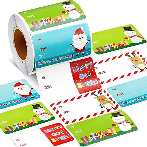 500 Pieces Christmas Tags Christmas Santa Claus Stickers Self Adhesive Christmas Tag Christmas Festival Birthday Wedding Holiday Decor