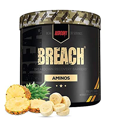 Redcon1 - Breach BCAAs (30 Servings) - Amino Acids, 2:1:1 BCAA Ratio, Increase Recovery, Caffeine Free, Strength and Endurance Support (Pineapple Banana)
