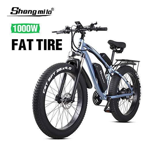 Shengmilo 26 Pollici Bici elettrica a Grasso per Pneumatici 48V 1000W Motore Neve Bicicletta elettrica con Batteria al Litio Shimano 21 velocità Bici elettrica Pedale Bicicletta elettrica (MX02S Blu)