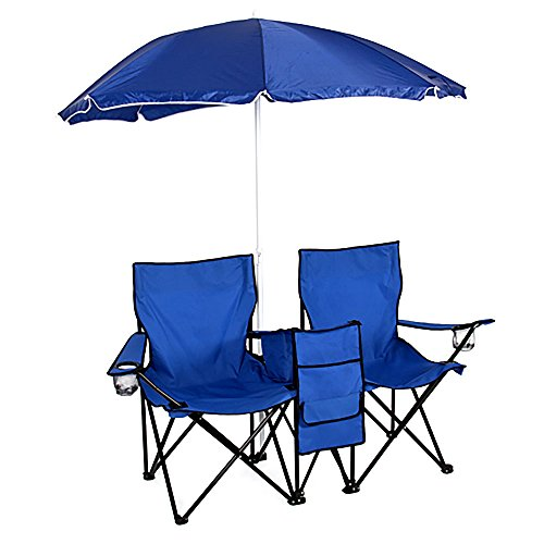 Portable Outdoor 2-Seat Folding Chair with Removable Sun Umbrella, Double Camping Chair for Garden Picnic Lawn Beach Camping Fishing, Outdoor Canopy, Blue