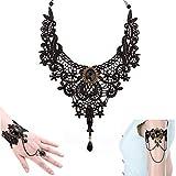 Juego de collar + pulsera + pulsera + 3 piezas para mujer, gótico, gargantilla de encaje, flor de Lolita, choker, ropa, accesorios para bodas, cumpleaños, Navidad, collar de lazo, collar