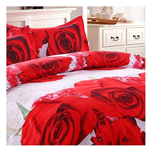 Beydodo Juegos de Cama Nordico,Juego de Ropa de Cama 4 Piezas Patrón de Flores Rosas Blanco Rojo (Edredón 200x230cm Sábana 230x230cm Almohadas 48x73cm x 2)