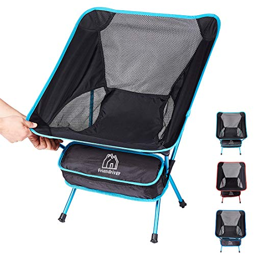 Friendriver Portable Folding Camping Chair Compact and Lightweight Outdoor Chair Suitable for Outdoor Activities Hiking Camping Picnic Folding Chair with Portable Storage Bag
