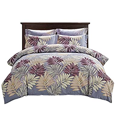 Delbou Tree Duvet Cover Set, Zipper Closure with Corner Tie,Floral Duvet Cover Queen Size 90 by 90 inch