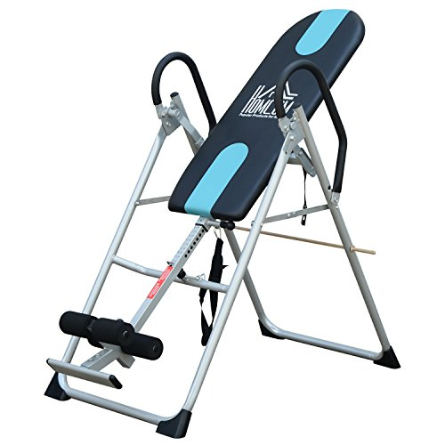 HOMCOM Gravity Inversion Table Foldable Therapy Bench Home Fitness Upside Down Stretching Home Gym Fitness Training Machine Black
