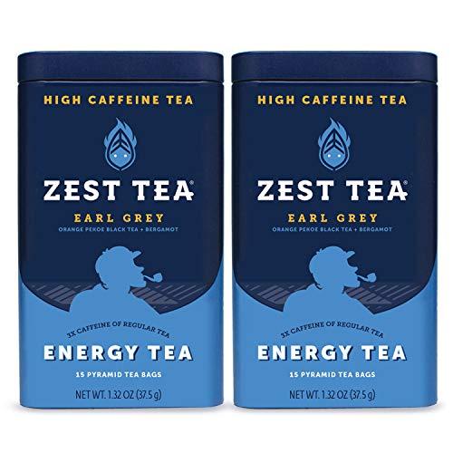 Zest Tea Premium Energy Hot Tea, High Caffeine Blend Natural & Healthy Traditional Black Coffee Substitute, Perfect for Keto, 150 mg Caffeine per Serving, Earl Grey Black Tea, 30 Sachets (2 Tins)