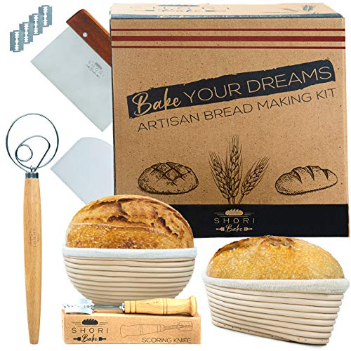 Shori Bake Bread Banneton Proofing Basket Set of 2 Round 9 Inch & 9.6 Inch Oval + Sourdough Bread Making Tools Kit, Baking Gifts for Bakers, Liner, Bread Lame, Bowl & Dough Scraper, Danish Dough Whisk