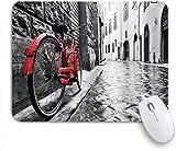 Geevosun Mauspad Fahrrad klassisches Fahrrad auf Kopfsteinpflaster Straße in der italienischen Stadt Freizeit Charme künstlerisches Foto angepasste Kunst Mauspad rutschfeste Gummibasis für Computer La