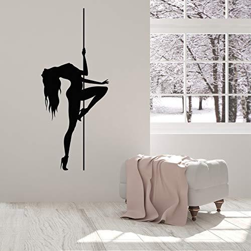 JXMN Etiqueta de la Pared calcomanía Pole Dance Sticker Mujer Decoración del hogar Mujer Dormitorio Mural extraíble 48x114cm