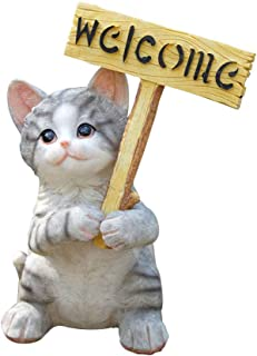 Agirlgle Garden Statue Cute Cat Decor Funny Outdoor Sculpture Ornaments Décor - Best Indoor Outdoor Statues Yard Art Figurines for Patio Lawn House - Made of Resin