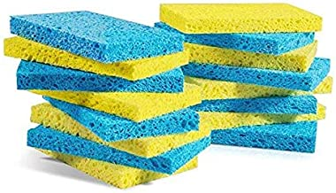 Mastertop Cellulose Multifunctional Dishwashing Scrub Sponge (Yellow and Blue) -8 Pieces/Pack