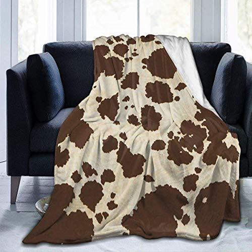BXBX Manta de Tiro de Mujer de Piel de Vaca Grande Manta de Felpa Polar Manta de Tiro difuso para sofá Cama