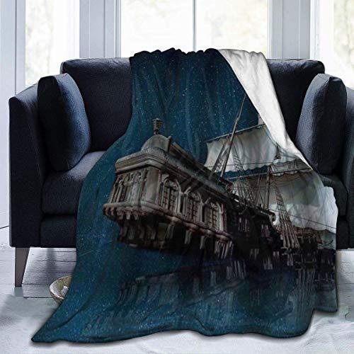 KKLDOGS Manta de forro polar ultra suave, diseño de barco pirata volando sobre el mar en la noche estrellada, decoración del hogar cálida manta para sofá cama