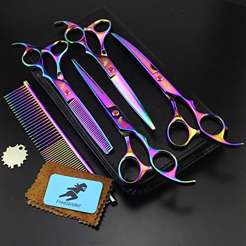 XUEE Pet High Grade Grooming schaars, 4-delige set haardressing schaars, reparatie en buigschaarkam