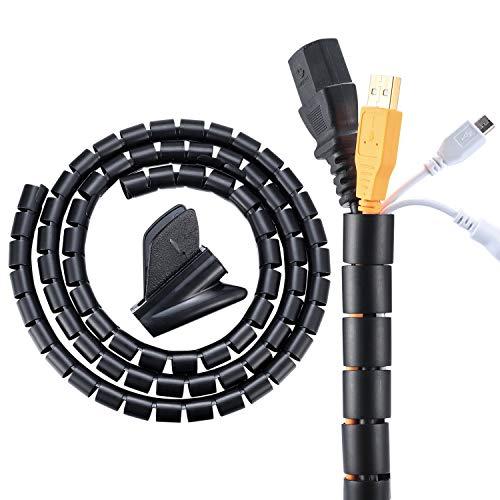 Espiral para Cables, Organizador de Cables, Guarda Sujeta Cables, Cubre Cables, Wire Wrap Tubo para PC, TV, Mesa, Oficina, Escritorio - 22mmx1.5m/Negro, Gris 🔥