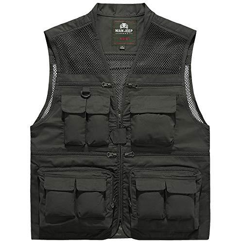 HLD Vest for mannen vrijwilliger werkkleding multi-pocket werkkleding lente en de herfst schoudermantel vest dunne stijl Gilets (Color : C, Size : XXXXL)