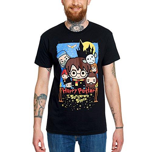 Elbenwald Harry Potter T-Shirt Stein der Weisen Poster Frontprint Chibi Style für Herren schwarz - XXXL