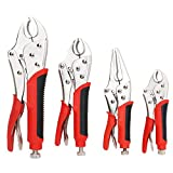 FASTPRO 4-Piece Locking Pliers Set With Heavy Duty Grip, 5', 7' and 10' Curved Jaw Locking Pliers, 6-1/2' Long...