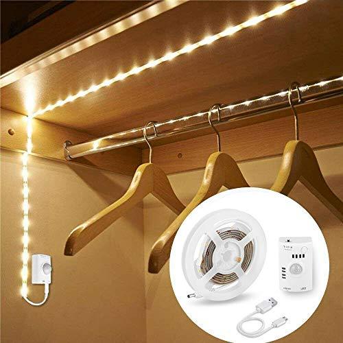 CUIFULI - Tiras de ledes para armario con sensor de movimiento activado con cable para armario, barra de luz nocturna incorporada, batería recargable por USB