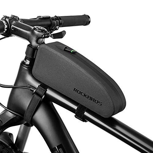 ROCKBROS(ロックブロス)トップチューブバッグ 自転車 防水 簡単装着 フレームバッグ 小物入れケース ロードバイク 膝に当たらないデザイン 長財布 スマホケース 収納バッグ サイクリング